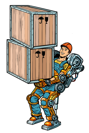 container loader. working in the exoskeleton. Pop art retro vector illustration kitsch vintage drawing