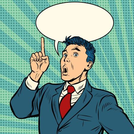 homme d'affaires surprise le geste de l'index vers le haut. Pop art rétro vector illustration kitsch vintage