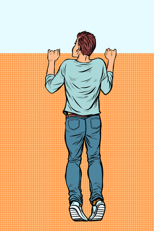 young man looks over the fence. Pop art retro vector illustration vintage kitsch Illustration