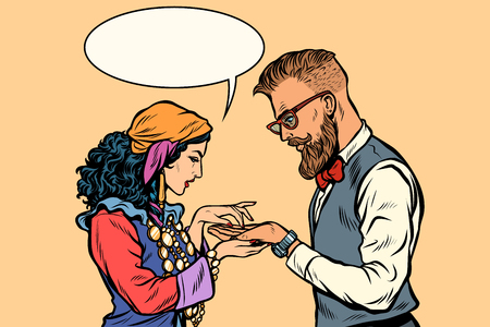 Gypsy palmist and hipster. Pop art retro vector illustration kitsch vintage