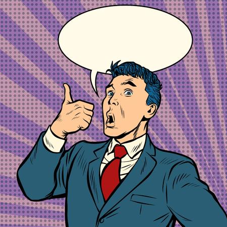 homme d'affaires surprise doigt vers le haut geste. Pop art rétro vector illustration kitsch vintage