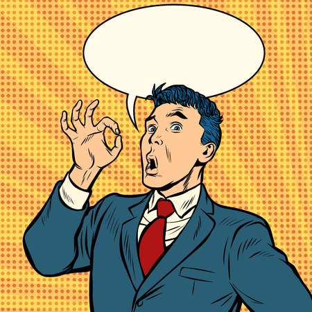 biznesmen niespodzianka OK gest. Pop-art retro wektor ilustracja vintage kicz Ilustracje wektorowe