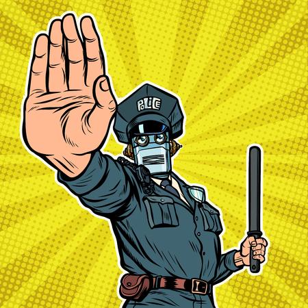 Stop hand gesture. Robot policeman Banque d'images - 116447694