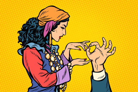Woman fortune teller Gypsy. Palmistry hand. Pop art retro vector illustration vintage kitsch Ilustração