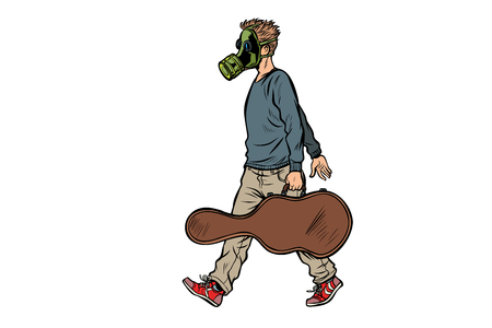 passer-by guitarist in gas mask, bad ecology dirty air. Pop art retro vector illustration kitsch vintage Standard-Bild - 125833798
