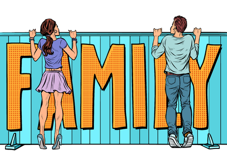 family plans. loving couple young man and woman young girl. Pop art retro vector illustration kitsch vintage Çizim