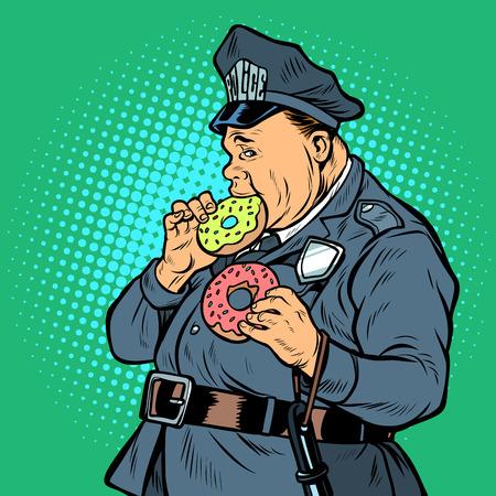 cop eats donut. Pop art retro vector illustration kitsch vintage Illustration