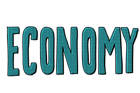 economy text inscription. Pop art retro vector illustration kitsch vintage