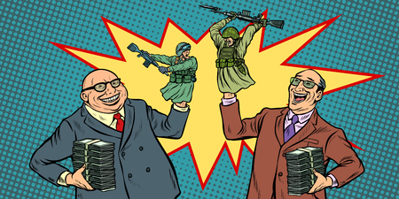 Politicians start wars for money concept. Businessmen laughing soldiers fighting Stock Illustratie
