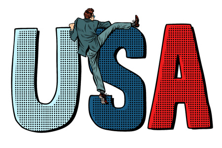 businessman man climbs across the border usa. isolate on white background