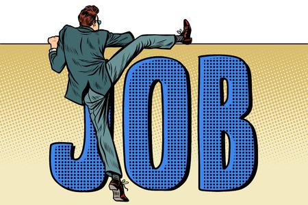Arbeitnehmer auf der Suche nach Arbeit. Job-Wort-Inschrift. Pop-Art Retro-Vektor-Illustration Kitsch Vintage Vektorgrafik