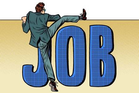 empleado en busca de trabajo. inscripción de palabra de trabajo. Ilustración de vector retro pop art kitsch vintage Ilustración de vector