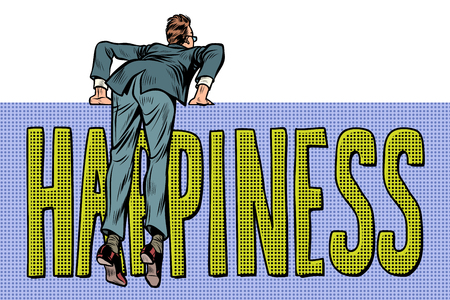 businessman climbs over the fence. happiness word text. Pop art retro vector illustration kitsch vintage Illustration