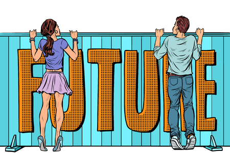 young man and girl look to the future. word, text inscription. Pop art retro vector illustration kitsch vintage