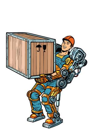 container loader. working in the exoskeleton. Pop art retro vector illustration kitsch vintage drawing Foto de archivo - 125455409