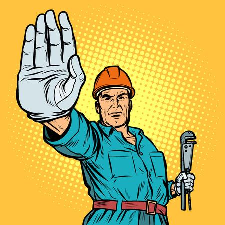 plumber gesture stop Ilustrace