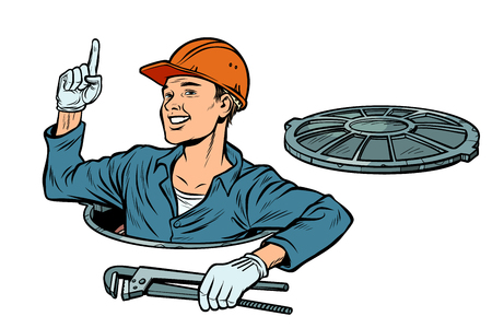 gesture attention. Plumber in the manhole Illustration