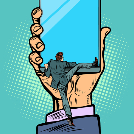 man gets into the smartphone. Pop art retro vector illustration kitsch vintage
