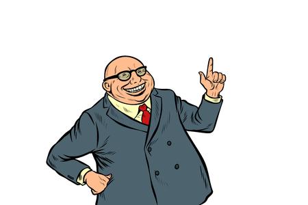 experienced businessman boss. successful business. Pop art retro vector illustration kitsch vintage Illustration