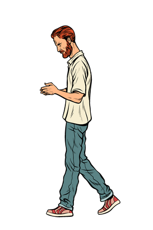 homme marchant dans la rue. Pop art rétro vector illustration kitsch vintage