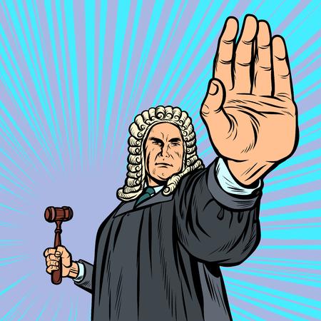 Richter mit einer Hammerstopp-Geste. Pop-Art Retro-Vektor-Illustration Kitsch Vintage Vektorgrafik