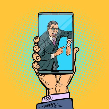 Video call boss. man is late. smartphone in male hand. Pop art retro vector illustration kitsch vintage Illustration