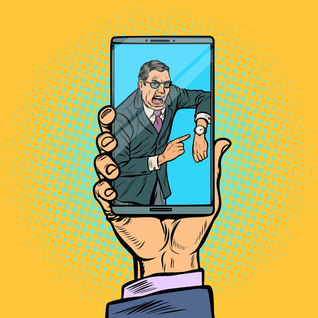 Video call boss. man is late. smartphone in male hand. Pop art retro vector illustration kitsch vintage Stock Vector - 125455420