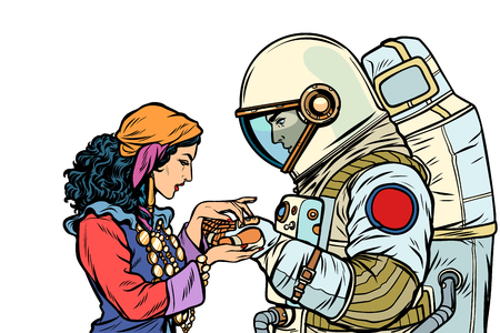 The fortune teller, and an astronaut. Isolate on white background