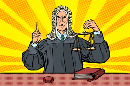Richter in einer Perücke. Waage der Gerechtigkeit. Pop-Art Retro-Vektor-Illustration Kitsch Vintage