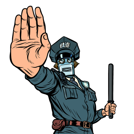 Stop hand gesture. Robot policeman. Isolate on white background Illustration