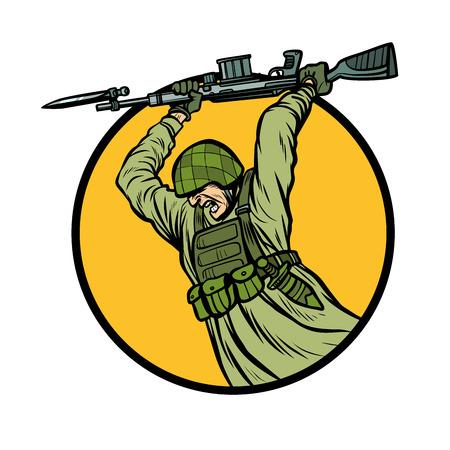 symbol bayonet fighting. soldiers at war. Pop art retro vector illustration kitsch vintage