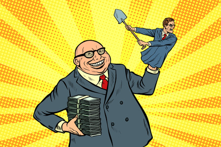 capitalist manipulates worker. Pop art retro vector illustration kitsch vintage