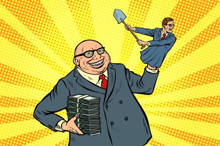 el capitalista manipula al trabajador. Ilustración de vector retro pop art kitsch vintage