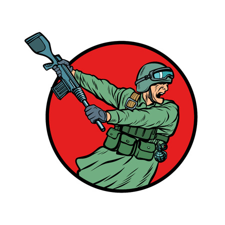 symbol kick the gun soldiers at war Illusztráció