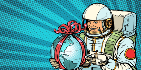 Astronaut gives the planet Earth. Pop art retro vector illustration drawing kitsch vintage