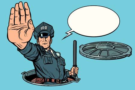 Police stop gesture, dangerous manhole. Road works. Pop art retro vector illustration drawing kitsch vintage Ilustração