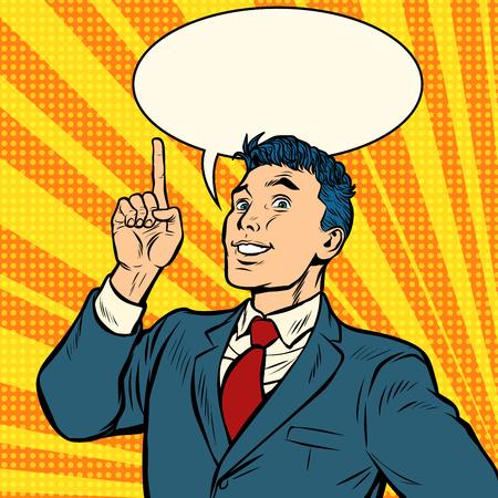 biznesmen uśmiech palec wskazujący gest. Pop-art retro wektor ilustracja vintage kicz