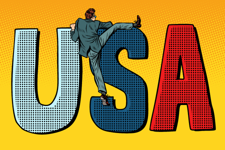 usa word letters. United States of America. businessman man climbs across the border illegal migration. Pop art retro vector illustration kitsch vintage