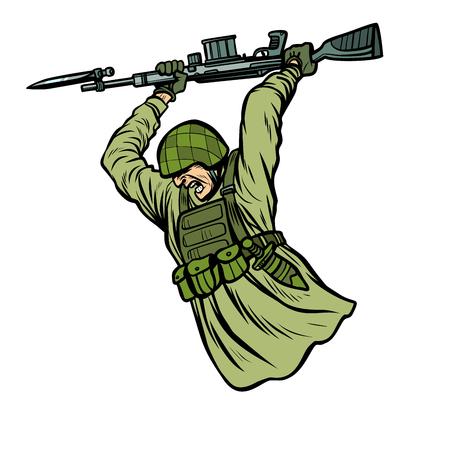 bayonet fighting. soldiers at war. Pop art retro vector illustration kitsch vintage