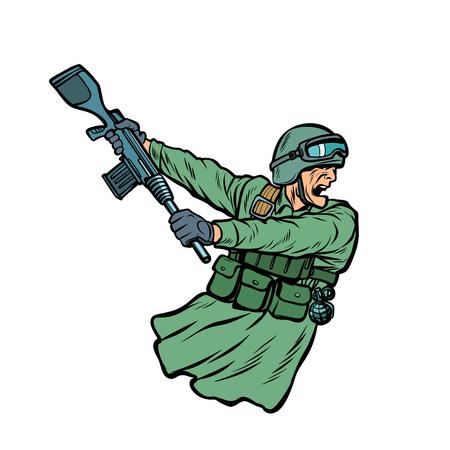 botter le cul de l'arme. soldats en guerre. Pop art rétro vector illustration kitsch vintage