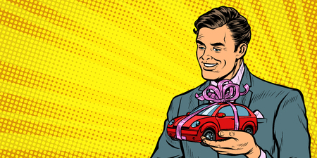 Businessman gives a gift, selling cars. Pop art retro vector illustration drawing kitsch vintage