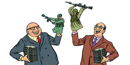 militarisme et concept de guerre isoler sur fond blanc. Hommes d'affaires riant soldats combattant. Pop art rétro vector illustration kitsch vintage