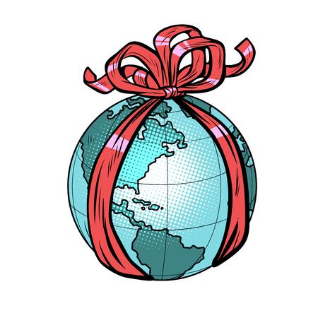 planet earth holiday gift. Pop art retro vector illustration drawing kitsch vintage Foto de archivo - 125301917