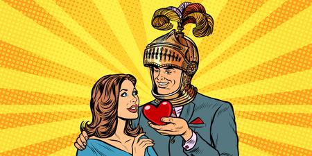 kobieta i mężczyzna rycerz serce miłości. Pop-art retro wektor ilustracja rysunek kicz vintage