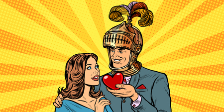 woman and man knight heart love. Pop art retro vector illustration drawing kitsch vintage