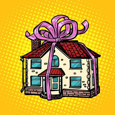 house gift, real estate. in the festive tape. Pop art retro vector illustration drawing kitsch vintage