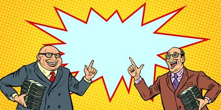 businessmen with cash, rich people. two men joyful. Pop art retro vector illustration kitsch vintage