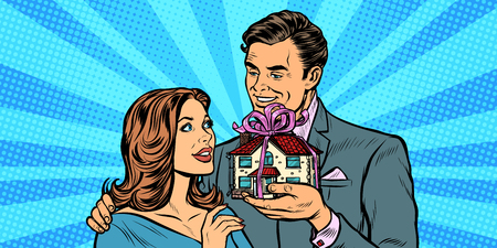 Husband and wife. House as a gift. real estate and rent. Pop art retro vector illustration drawing kitsch vintage