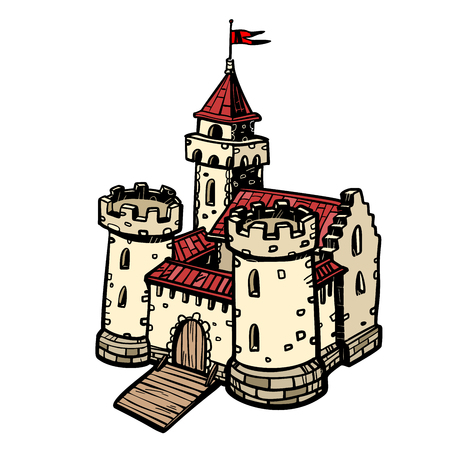 medieval castle, fairy kingdom. real estate. isolate on white background Pop art retro vector illustration drawing kitsch vintage Иллюстрация