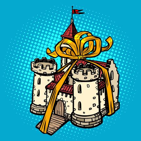 gift ribbon medieval castle, fairy kingdom. real estate. Pop art retro vector illustration drawing kitsch vintage
